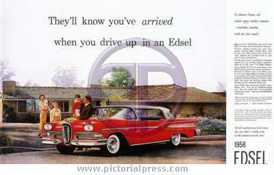 1958 Ford Edsel Advert Pictorial Press Music Film Tv